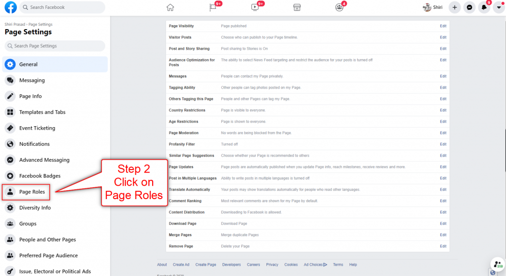 Add Facebook Page Admin Step 2