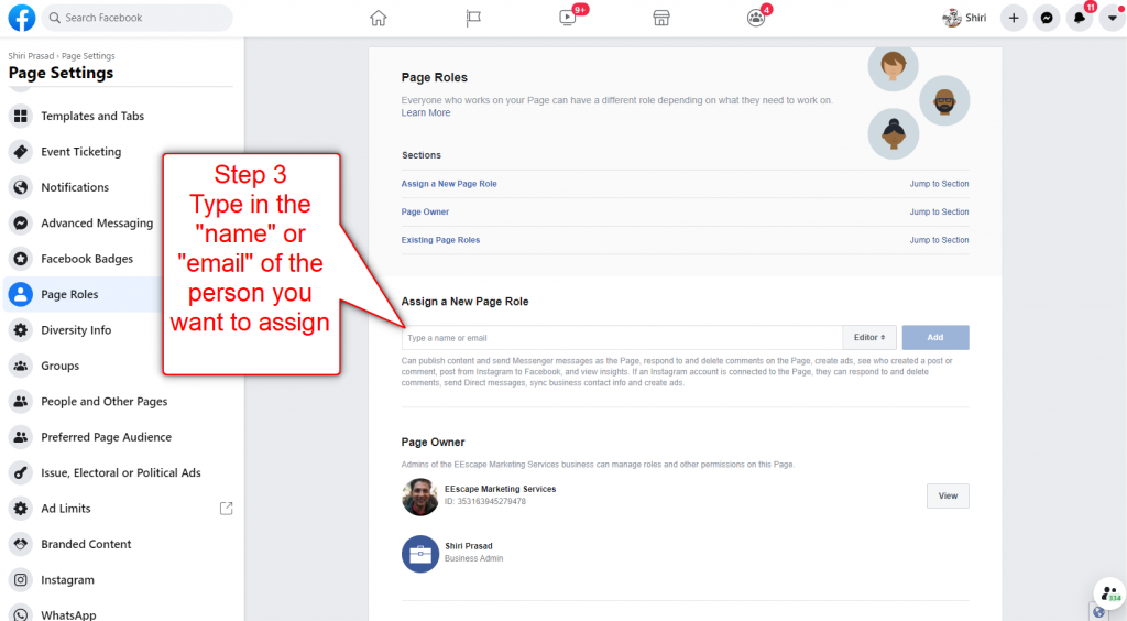 Add Facebook Page Admin Step 3