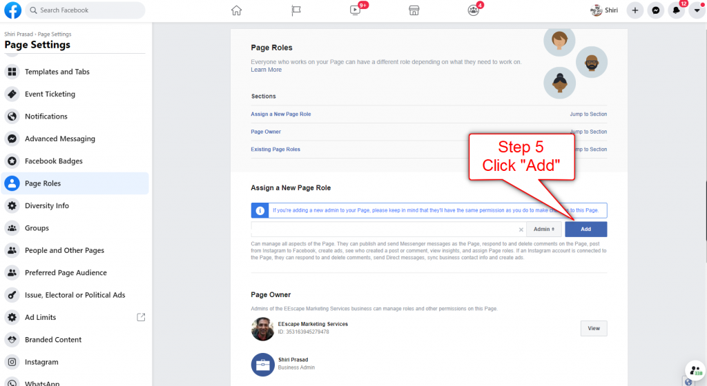 Add Facebook Page Admin Step 5