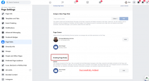 Facebook Page Admin Successfully Added
